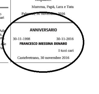 Il necrologio per Francesco Messina Denaro
